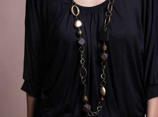 Neck Batwing Sleeve Stretch Jersey Top w.Necklace PLUS SZ NEW