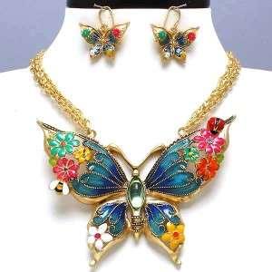 gold Butterfly Western Costume Jewelry Necklace Earrings Set