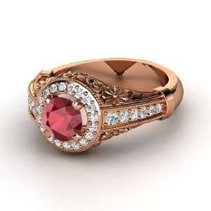 Primrose Ring, Round Ruby 14K Rose Gold Ring with Diamond