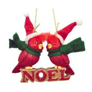 Loving Cardinal Birds Noel Christmas Ornament 3