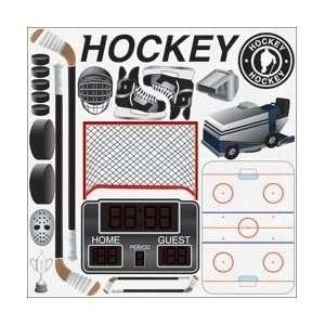 Real Sports Cardstock Stickers 12X12 Sheet   Hockey Arts