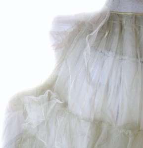 1930s FULL CRINOLINE PETTICOAT Depression era SMALL tie on style CREAM