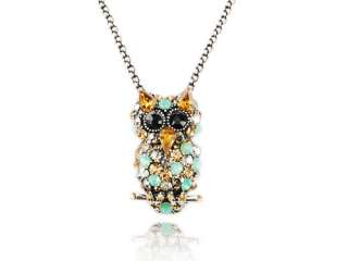 Crystal Rhinestone Topaz Clear Pacific Opal Tree Hoot Owl Bird