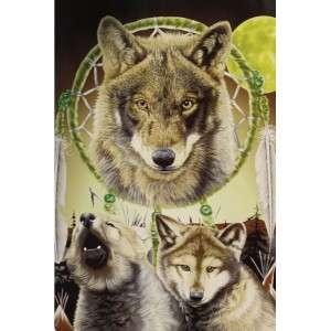 Wolf Wolves w Dream Catcher Queen Mink Blanket 79 X 94 Q8959