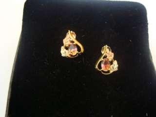 10K Gold Earrings W/ Pink Mystick Topaz New  Not Scrap