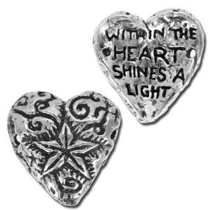 15mm Green Girl Shining Heart Pewter Links Arts, Crafts