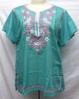 Flower Floral Cotton TOP Blouse Shirt Sz XL Gypsy Boho