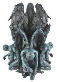 Gothic Dark Angel Queen Statue W/ Raven Goth Fairy