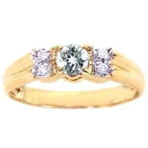 14K Yellow Gold Round Gemstone and Diamond Anniversary Ring Aquamarine