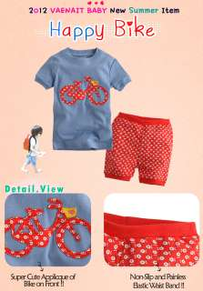 Toddler Kid Girl Boys Short Sleeve Sleepwear Set Happy Bike