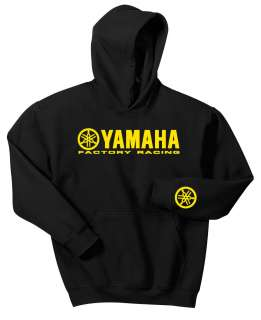 YAMAHA FACTORY RACING HOODIE BLACK SWEAT SHIRT YZ YZF YFZ R1 R6 MX