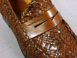 Moreschi Italy Amazing Braided Leather Cognac Brown Dress Shoes 8 NEW