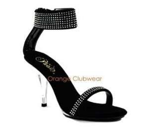 High Heels Ankle Strap Rhinestone Mini Platform Sandals Shoes