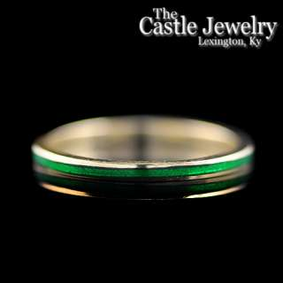 Hidalgo Stackable Green Enamel 18 K Yellow Gold Ring Guard