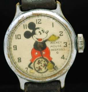 1933 MICKEY MOUSE WATCH Character INGERSOLL Walt Disney Wristwatch 30s