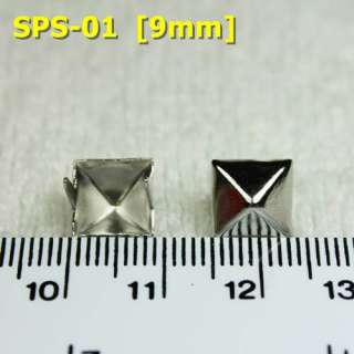 100 Pcs 9mm 11mm 14mm Silver Pyramid Studs Sports Punk Rock Biker