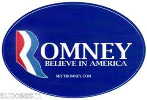 Mitt Romney 2012 Oval Design Dark BLue Bumper Sticker   Mint