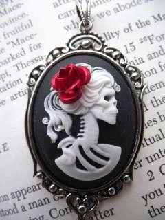 Day of the Dead Skeleton Skele Lady Skull Red Rose Black Skeleton
