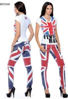 British Flag Union Jack Novelty Stretch Fit Womens Jeans BNWTags Diff
