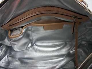 Michael Kors Womens Grayson Nickel Monogram Metallic Satchel Handbag
