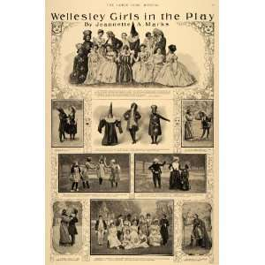 1900 Print Wellesley College Girl Plays Jeanette Marks