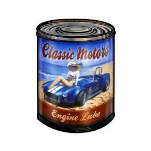 Classic Motors Engine Lube Pinup Girl Vintage Metal Sign