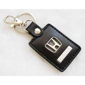 Black Leather Honda Logo Car Keychain Automotive
