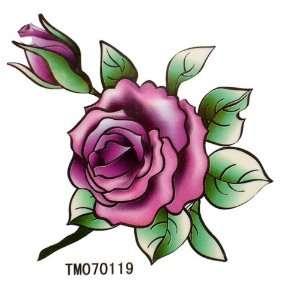 King Horse Fake waterproof tattoo sticker color flowers sexy purple