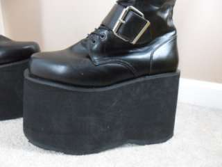 DEMONIA Mega 618 BLACK Gothic Club Knee High Platform Boots Mens 9