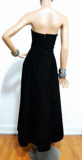 Scott McClintock Black Velvet Dress Long Strapless Sz 8