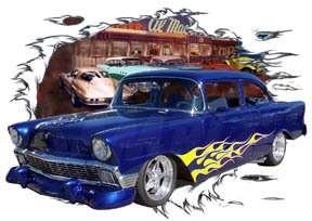 1956 Blue Flames Chevy Sedan Hot Rod Diner T Shirt 56