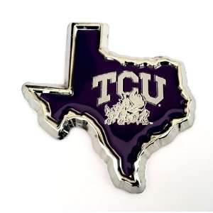 TCU Texas Christian University Texas Shaped Chrome Metal