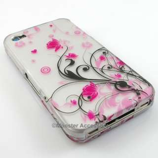 Pink Flowers Rubberized Hard Case Cover for Apple iPhone 4S NEW