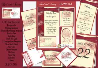 Delux Red and Ivory Roses Wedding Invitation Kit on CD