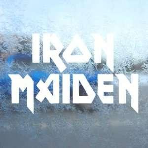 Iron Maiden White Decal Metal Rock Band Window White
