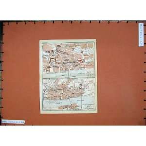 1926 Colour Map France Street Plan Blois Loire Fleuve