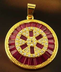 Charming Ruby&White Topaz Gems Pendant 14k Real Rose Gold Filled