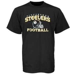 Reebok Pittsburgh Steelers Black Youth Stacked Helmet T shirt