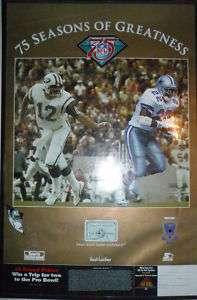 75th Emmitt Smith+Joe Namath Cowboys & Jets NFL Poster
