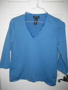 Jones New York Signature Blue Sweater with Fringe Size L