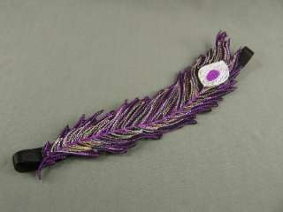 Purple Black peacock feather pattern stretch headband embroidered