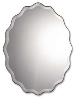 Large Antique Silver Oval Wall Mirror w Ruffled Edges