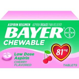 Bayer Chewable Low Dose Baby Aspirin Cherry 81 Mg 36 Count (Pack of