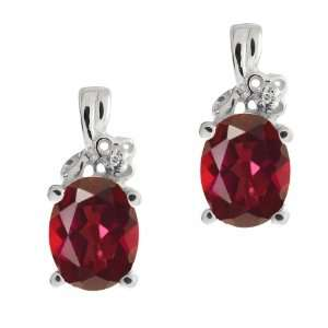 3.21 Ct Oval Ruby Red Mystic Topaz and White Topaz 14k