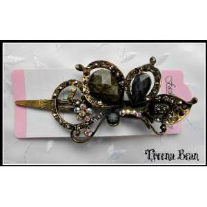 Bean Vintage Fashion Jeweled Charcoal Rhinestone Hair Clip***FREE