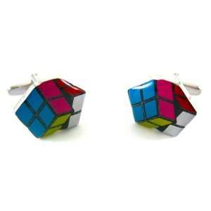 Classic Rubiks Cube Puzzle Game Cufflinks Jewelry