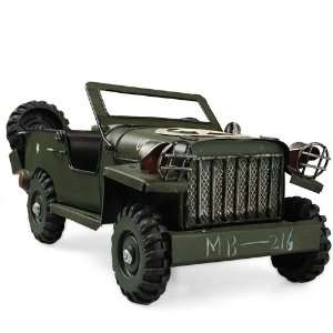 Iron Army Green Jeep Toy Model Decor USA Star MB 216 Toys & Games