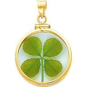14K Gold 4 Leaf Clover Pendant Jewelry