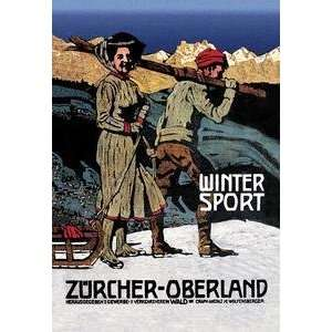 Vintage Art Winter Sport Cross Country Skiing   02636 7