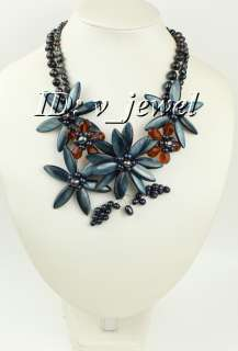 Shell grey pearl crystal flower necklace/earring set VJ